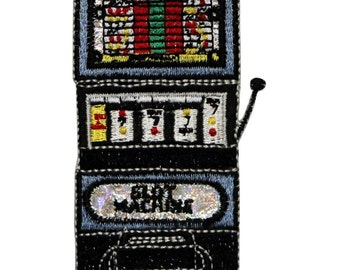 ID 0070 Slot Machine Patch Gambling 777 Spinning Embroidered Iron On Applique