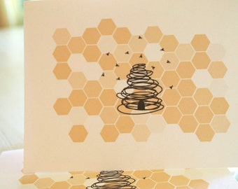 Honey Bee Stationery Set - Bumble Bee and Honeycomb Note Cards - Honeycomb Hive and Bees Note Card Set