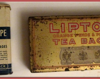 Lipton Tea Bag Tin and  Curity Handi-Tape Bandages Tin---Both for One Price---1950s-Vintage Collectible-