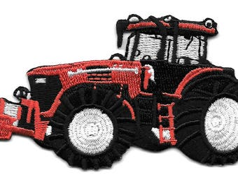 Farm Tractor - Farm Equipment - Red - Fully Embroidered Iron On Patch - Left