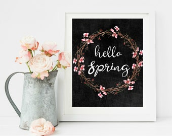Hello Spring Print, Cherry Blossom Art, Rustic Wall Art, Rustic Home Decor, Home Printable, Chalkboard Print, Spring wreath, Four Seasons,