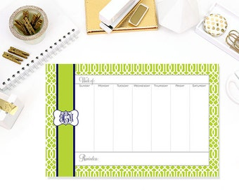 Lattice Print Personalized Weekly Desk Planner, Desktop Planner, Desk Calendar 52 Page Weekly Desktop Planner