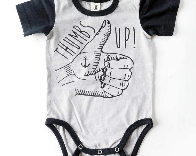 Thumbs Up Tattoo Hand Baby Short Sleeve Baby Grow - Unisex Alternative Anchor Rockabilly Bodysuit 0-3, 3-6, 6-12 month