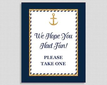 We Hope You Had Fun Please Take One, Nautical Party Favor Sign, Anchor Navy & Gold Glitter, Baby Boy Shower Favor Sign, INSTANT PRINTABLE