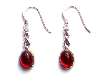 Sterling silver Celtic earrings Glittering red Swarovski  - ruby red Swarovski crystal cabochon