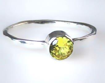 Yellow Topaz Ring, Golden Topaz Ring, Topaz Stacking Ring , Mothers Ring, November Birthstone Ring