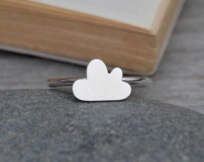 Fluffy Cloud Ring In Sterling Silver, Small Cloud Ring, Weather Forecast Ring, Handmade In England