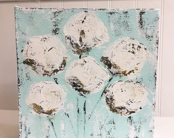 Abstract Cotton Painting, cotton bolls painting, cotton boll art, cotton art, farmhouse art