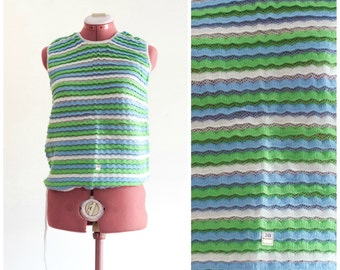 1960s blue, green, and white crocheted sweater vest