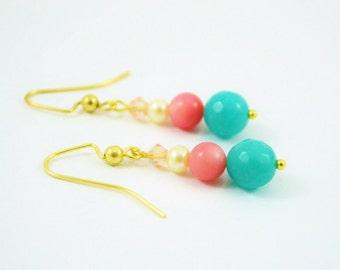 FREE SHIPPING, coral aqua earrings, coral earrings, aqua earrings,sea green earrings,coral pink aqua earrings,coral drop earrings, aqua blue