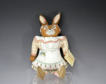 Vintage, Bunny, Rabbit, Spring, Cloth, Doll, Mrs McBunny, Heartline, 1985, Gift for Her, Gift for Girl, Soft Toy, Cotton, Stuffed Animal