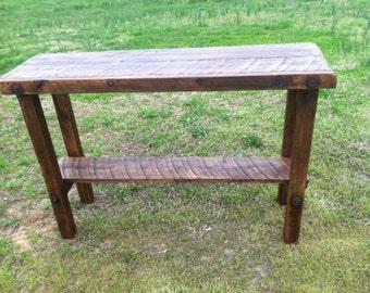 Sofa Table, wood table, Rustic sofa table, Rustic Barn wood foyer table