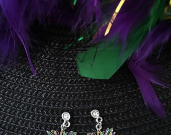 MARDI GRAS Mask Earrings ~ Carnival Jewelry ~ Purple, green, gold ~ CZ Earring Post ~Rhinestone Studded Earring ~Gift for her~Free shipping