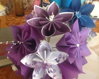 Large Origami Paper Flowers Simple Bouquet of 5