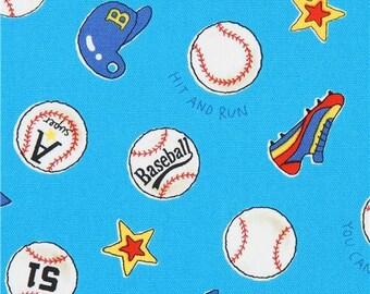 217827 blue baseball sports oxford fabric by Kokka