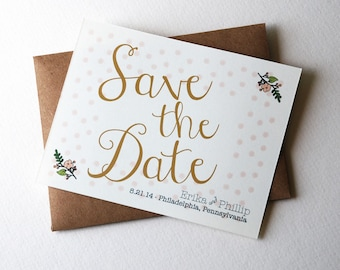 """Customizable Wedding Save the Dates with Polka dots and Flowers in Pink, Gold, Blush, and Peach, 4.25x5.5"""" Cards with Kraft Envelopes"""