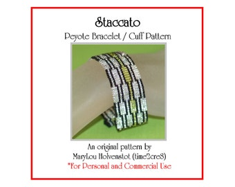 Peyote Bracelet Pattern ... STACCATO ... Geometric . Graphic . Bonus Pattern . Blocks . Rectangles . Stripes . Modern . Links . 3 for 2