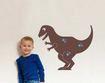 T-Rex Dinosaur Wall Decal Cute Dino Kids Room Theme Baby Nursery Happy Tyrannosaurus Rex (LARGE SIZE)