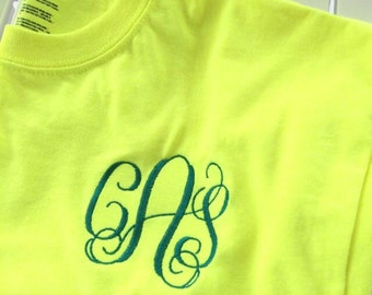 Monogrammed womens shirt safety yellow with teal monogram initials