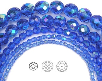 3mm (135pcs) Sapphire AB coated, Czech Fire Polished Round Faceted Glass Beads, 16 inch strand