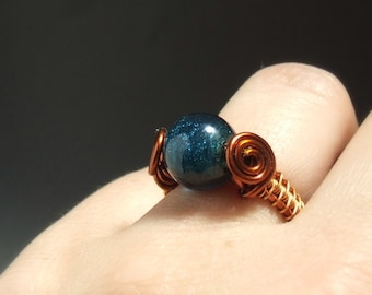 Teal blue cocktail ring, deep blue glass ring, handmade copper jewelry gift for women, size US 6
