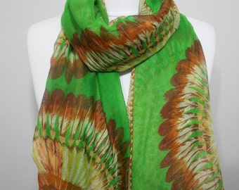 Mothers Day Gift For Her Bohemian Feather Scarf Shawl Sarong Pareo Beach Cover Up Green Native American Scarf  Fashion Accessory Holiday