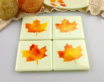 Maple Leaf Fused Glass Coasters, Home Decor Housewares Set of 4  Fused Glass Art  Hostess Gift  Home Decor, GetGlassy