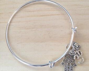 Ohm Bracelet, Hamsa Bracelet, Buddha Charm Bangle, yoga bracelet, zen jewelry, namaste jewelry, Aum Jewelry,