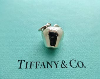Authentic Tiffany & Co. Apple Three Dimensional Pendant Charm in Sterling Silver