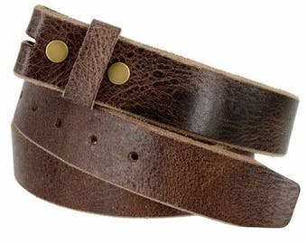 Premium Genuine Brown Leather Snap Belt Strap - Distressed Mens Women's - Thick - For Buckles - Change your buckle -  Sale