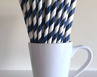 Navy Blue Striped Paper Straws Party Supplies Party Decor Bar Cart Cake Pop Sticks Mason Jar Straws  Party Graduation