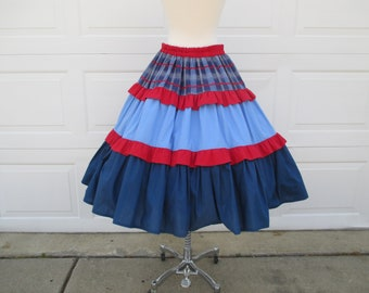 Blue & Red Circle Skirt Square Dancing Skirt with Red Ruffles Country Western Style Rockabilly Size M