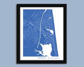 Rehoboth map, Rehoboth city map art, Rehoboth wall art poster, Rehoboth decorative map