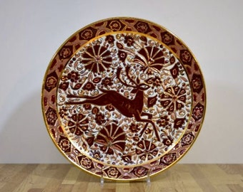 Keramikos Bull Arris Keramik Hand Made in Rhodes Greece Deer Gold Lined Wall Hanging Plate