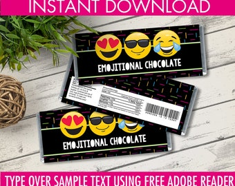 Emoji Candy Bar Wrappers - Emoji Favor, Chocolate Labels, Emoji Birthday Party   Editable Text - Instant Download PDF Printable