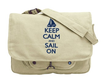 Keep Calm and Sail On Embroidered Canvas Messenger Bag