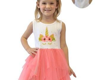 Girls Unicorn tulle dress