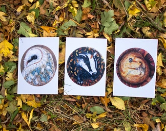 SECONDS, owl print, wildlife art print, wildlife art, animal art print, A6 print, postcard print, original art print, owl painting