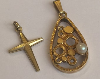 Vintage 1950s 14ct Rolled Gold K&L Pendants, German Jewellery, Geometric, Crucifix