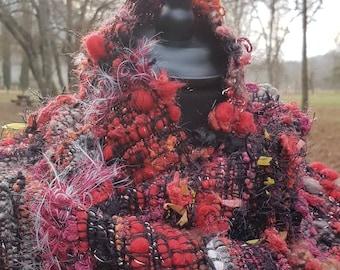 Saori weaving hand spun wool scarf