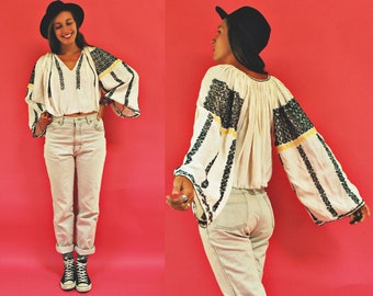 vintage Romanian Traditional Embroidered Cropped Bell Sleeve Folk Blouse