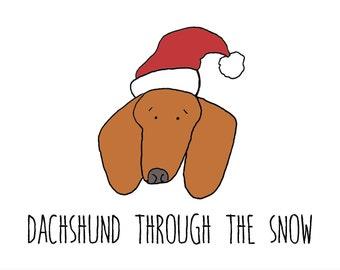 Dachshund through the snow, A6 card