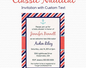 Nautical Baby Shower Invitation, Nautical Birthday Party Invitation, First Birthday Invite, Boy Party Theme, Anchor -- Printable File
