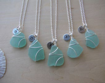 Real sea glass bridesmaids necklaces aqua green beach glass jewelry beach wedding brigesmaids gifts with personalized letter