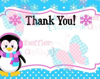 Winter Wonderland Thank you. Onederland Thank you. Instant Download. Printable. 4x6. Penguin.Snowflake. Winter. Birthday. Girl Version.Pink