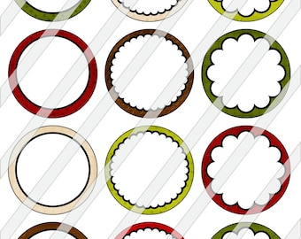 """2"""" Circles Digital Collage Sheet - Editable Christmas Backgrounds For Tags Cupcake Toppers Cardmaking Magnets Stickers 0067"""