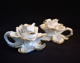 Rose Gold Tipped Ceramic Candlestick Holders