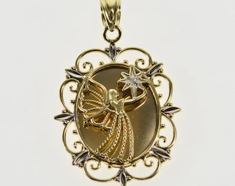 10K Two Tone Raised Guardian Angel Oval Scalloped Charm/Pendant Yellow Gold