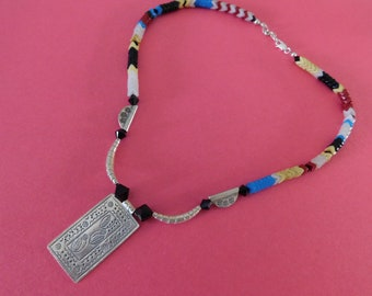Tribal sterling silver necklace with snake beads