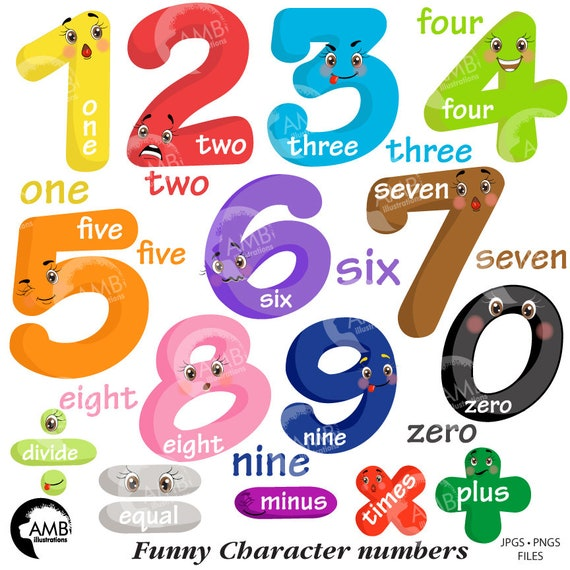 funny emoticon numbers clipart number faces counting numbers rh etsy com number clip art 80 number clip art free